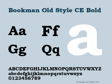 Bookman Old Style CE Bold Version 1.4 - East European character set Font Sample