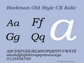 Bookman Old Style CE Italic Version 1.4 - East European character set Font Sample