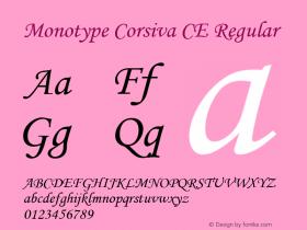 Monotype Corsiva CE Regular Version 1.4 - East European character set Font Sample