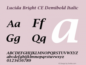 Lucida Bright CE Demibold Italic Version 1.01 Font Sample