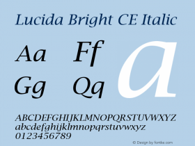 Lucida Bright CE Italic Version 1.01 Font Sample