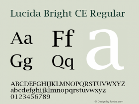 Lucida Bright CE Regular Version 1.01 Font Sample