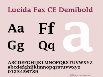 Lucida Fax CE Demibold Version 1.01 Font Sample