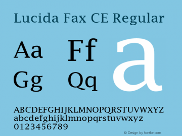 Lucida Fax CE Regular Version 1.01 Font Sample