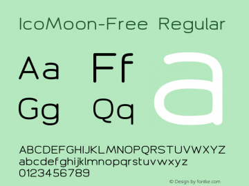 IcoMoon-Free Regular Version 1.1 Font Sample