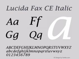 Lucida Fax CE Italic Version 1.01 Font Sample