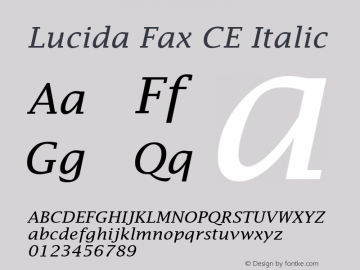 Lucida Fax CE Italic Version 1.01 Font Sample