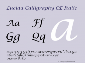 Lucida Calligraphy CE Italic Version 1.01 Font Sample