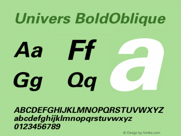 Univers BoldOblique Version 001.001 Font Sample