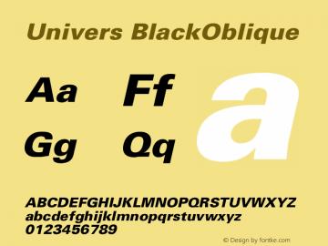 Univers BlackOblique Version 001.001 Font Sample