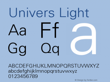 Univers Light Version 001.001 Font Sample