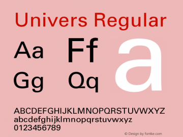 Univers Regular Version 001.001 Font Sample