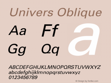 Univers Oblique Version 001.001 Font Sample
