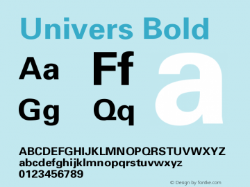 Univers Bold Version 001.001 Font Sample