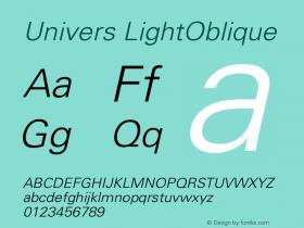 Univers LightOblique Version 001.001 Font Sample