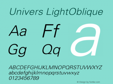 Univers LightOblique Version 001.001 Font Sample