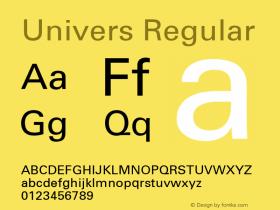 Univers Regular 001.000 Font Sample