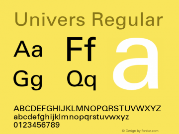 Univers Regular 001.000 Font Sample