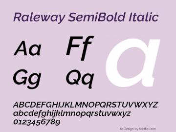Raleway SemiBold Italic Version 2.500 Font Sample