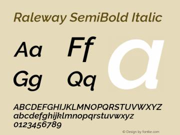 Raleway SemiBold Italic Version 2.500; ttfautohint (v0.95) -l 8 -r 50 -G 200 -x 14 -w