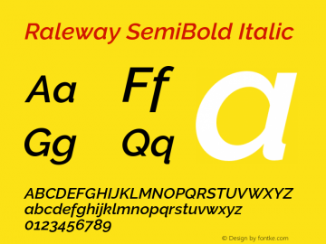 Raleway SemiBold Italic Version 3.000 Font Sample