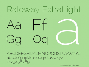 Raleway ExtraLight Version 2.001; ttfautohint ( Font Sample