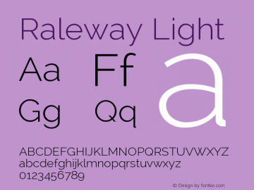 Raleway Light Version 2.001; ttfautohint ( Font Sample