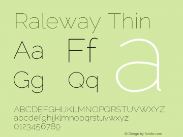 Raleway Thin Version 2.001; ttfautohint ( Font Sample
