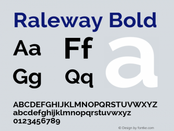 Raleway Bold Version 2.001; ttfautohint (v0.8) -G 200 -r 50 Font Sample