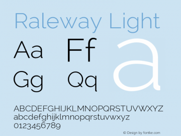 Raleway Light Version 2.001; ttfautohint (v0.8) -G 200 -r 50 Font Sample