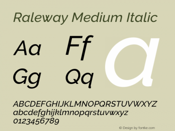 Raleway Medium Italic Version 3.000; ttfautohint (v0.96) -l 8 -r 28 -G 28 -x 14 -w