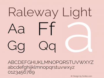 Raleway Light Version 3.000; ttfautohint (v0.96) -l 8 -r 28 -G 28 -x 14 -w