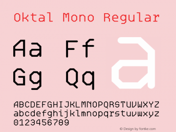 Oktal Mono Regular Version 1.000图片样张