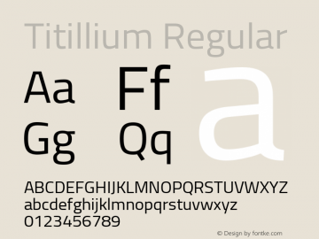 Titillium Regular Version 1.000;PS 57.000;hotconv 1.0.70;makeotf.lib2.5.55311 Font Sample