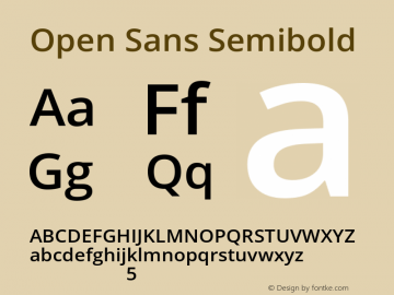 Open Sans Semibold Version 1.10 Font Sample