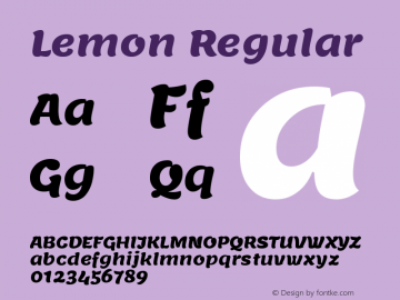 Lemon Regular Version 1.002图片样张