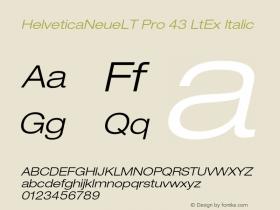 HelveticaNeueLT Pro 43 LtEx Italic Version 1.000;PS 001.000;Core 1.0.38 Font Sample