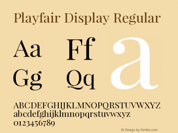 Playfair Display Regular Version 1.004;PS 001.004;hotconv 1.0.70;makeotf.lib2.5.58329 Font Sample