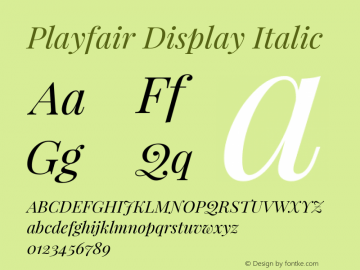 Playfair Display Italic Version 1.005; ttfautohint (v1.2) -l 10 -r 42 -G 200 -x 21 -D latn -f latn -w G -X