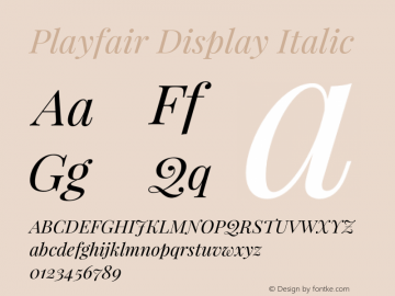 Playfair Display Italic Version 1.005;PS 001.005;hotconv 1.0.70;makeotf.lib2.5.58329 Font Sample