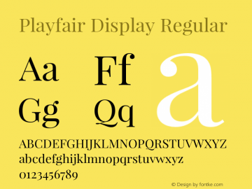 Playfair Display Regular Version 1.005;PS 001.005;hotconv 1.0.70;makeotf.lib2.5.58329 Font Sample