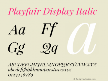 Playfair Display Italic Version 1.002;PS 001.002;hotconv 1.0.70;makeotf.lib2.5.58329 Font Sample