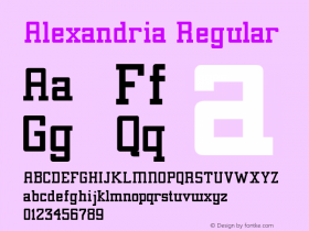 Alexandria Regular 1.00 Font Sample