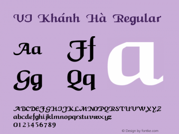 VI Khánh Hà Regular Unknown Font Sample