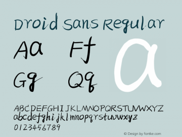 Droid Sans Regular Version 1.00 August 20, 2015, initial release Font Sample