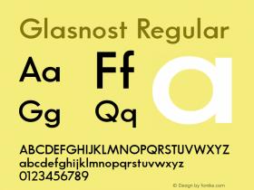 Glasnost Regular Altsys Fontographer 3.5  6/26/92 Font Sample