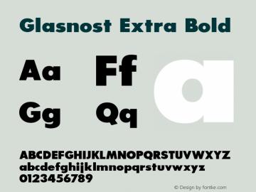Glasnost Extra Bold Altsys Fontographer 3.5  6/26/92 Font Sample