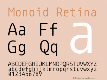 Monoid Retina Version 0.62 Font Sample