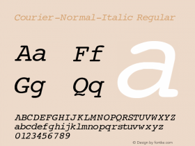 Courier-Normal-Italic Regular Converted from c:\windows\russ_fon\ST000003.TF1 by ALLTYPE Font Sample
