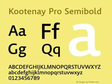 Kootenay Pro Semibold Version 1.00 Font Sample